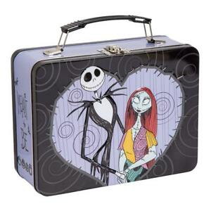 NIGHTMARE-BEFORE-CHRISTMAS-Jack-amp-Sally-Classic-Tin-Tote-Metal-Lunch-Box