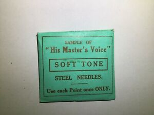 """""""His Masters Voice"""" Soft Tone Steel Needles. Vintage Pack"""