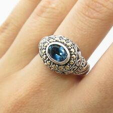 Vtg 925 Sterling Silver 18k Gold Real London Blue Topaz Gemstone Ring 6 3/4