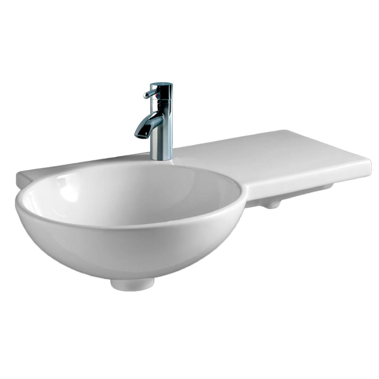 Lavabo design asimmetrico sospeso con vasca decentrata sinistra 67.5 cm ceramica