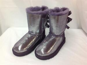 77e02b4e7ac Details about UGG AUSTRALIA BAILEY BOW LIZARD GIRLS BOOT PURPLE VELVET SIZE  5 NEW IN BOX