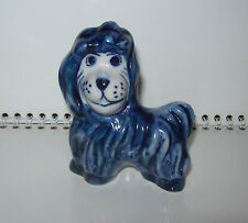 Vintage RUSSISCHE Gzhel Handbemalte Porzellan Statuette HUND / WELPE. Original.