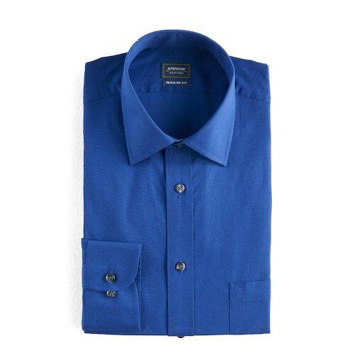 NWT ARROW Mens Regular Fit Solid Textured L//S Dress SHIRT XL 36//37