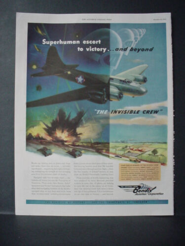 1943 Bendix Aviation WW2 War Superhuman Escort Plane Crew Vintage Print Ad 10881