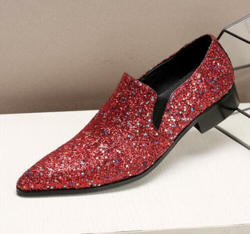 Herren Tanzschuhe Business Neu Abend Slipper Hochzeit Pailletten Spitz Fashion