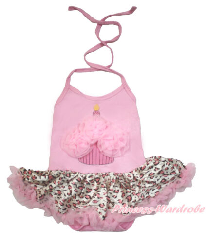Pink Birthday Cake Halterneck Girl Bodysuit Pink Leopard Skirt Baby Dress NB-2Y