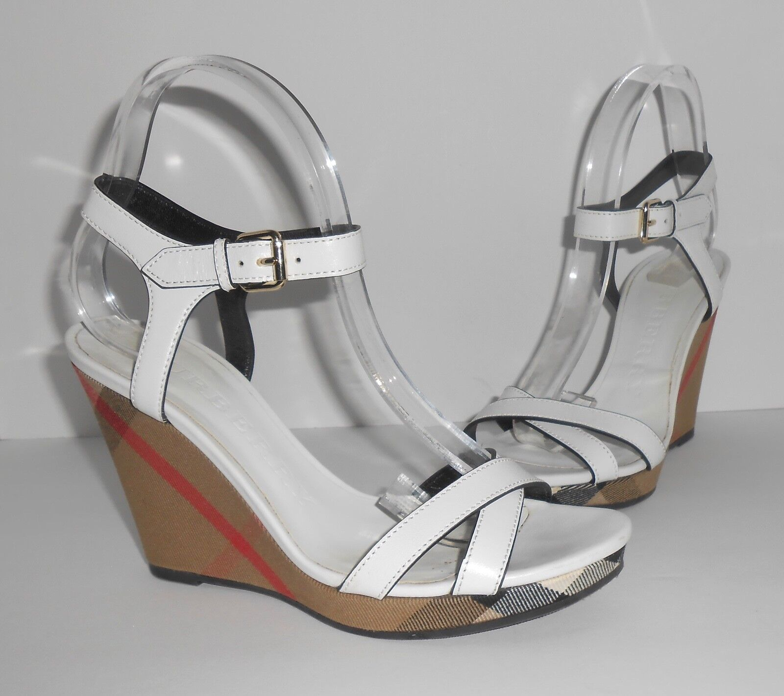Burberry Rastrickson Check Wedge Sandals White Size 38