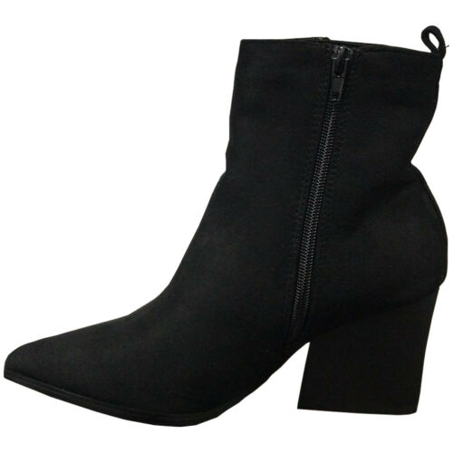 LADIES WOMENS ANKLE BOOTS ZIP FAUX SUEDE LOW HEEL CASUAL HIGH TOP SLIP ON SHOES