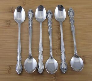 6-Six-Imperial-Fleurette-Iced-Tea-Spoons-7-1-8-034-Stainless-Flatware-Silverware