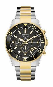 Bulova-Marine-Star-Men-039-s-98B249-Chronograph-Black-Dial-Two-Tone-43mm-Watch