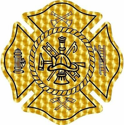 Gold engine turned firefighter maltese cross vinyl graphic decal