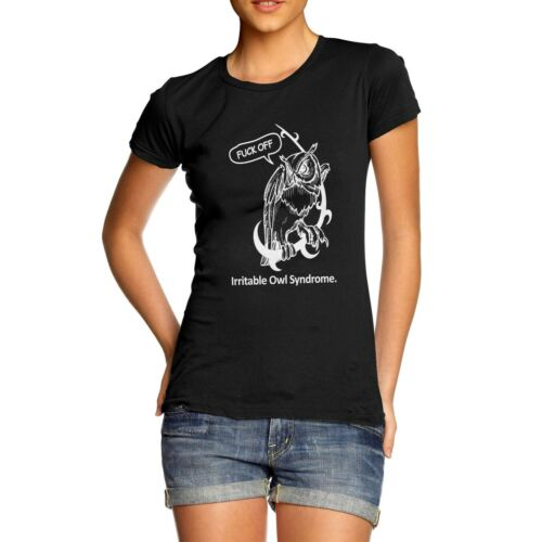 Women/'s Print Irritable Owl Syndrome Funny Rude T-Shirt