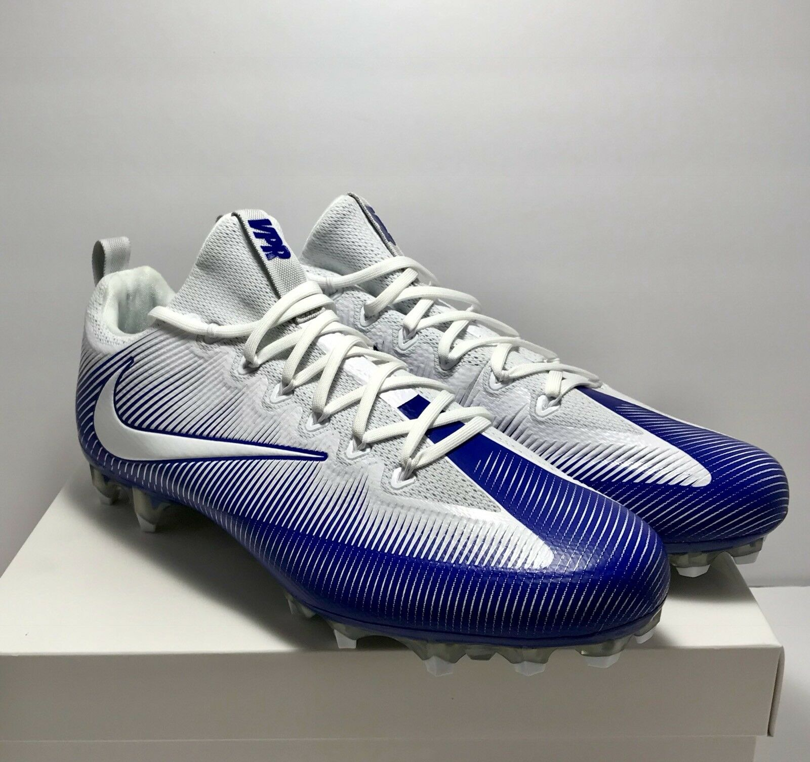 9fca65047 Nike Mens Size 14 Vapor Pro Low Football Cleats Cleats Cleats Untouchable  White Blue New 120 52646f
