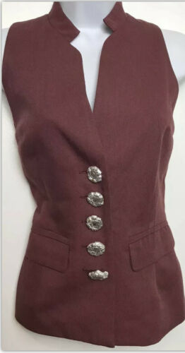 TIMES SEVEN TODD OLDHAM Vest Button Red Sleeveless