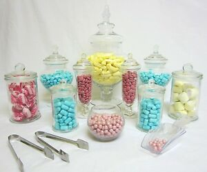10-SET-Apothecary-Jars-Candy-Lolly-Buffet-Glass-Jar-Wedding-Party-amp-Scoops