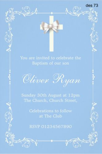 Girl Christening Baptism Naming Day Dedication Invitation 40 Personalised Boy