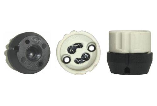 GU10 Fassung Porzellan-mit Isolierhaube Komplettfassung Hochvolt M10x1 schwarz