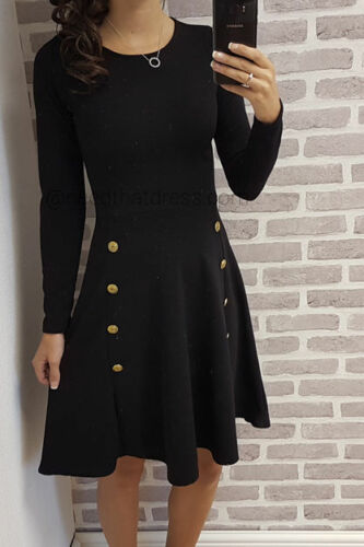 Women/'s Military Button Skater Swing dress Long Sleeve Ladies UK 8-28 Plus Size