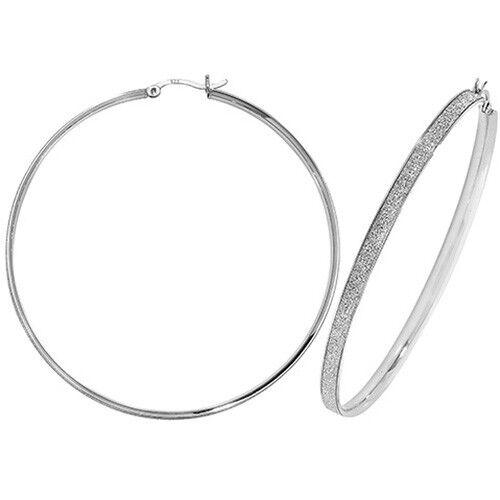 35mm - 65mm *LARGE* Sterling Silver Sparkling Moondust Creole Hoop Earrings