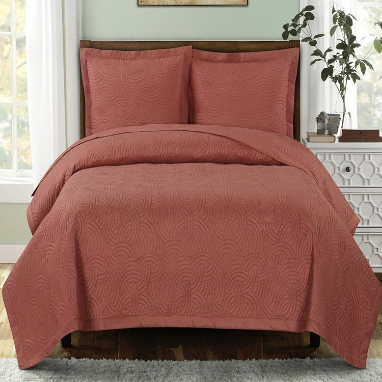 Calm and Collective Emerson Ornamental Design Solid Quilted Coverlet Sets