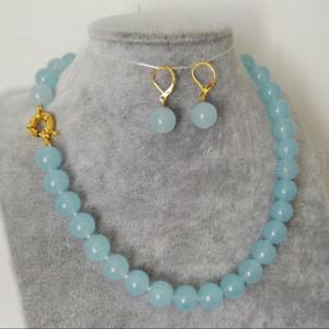 Women/'s 10mm Natural Dark Blue Jade Round Gemstone Beads Necklace 18/'/' AAA
