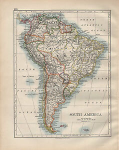 Map Of America 1900.1900 Victorian Map South America Falkland Islands Argentina Chile