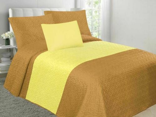 Velvet Embossed Bedspread Soft Quilt 4-Piece Multi-Tone Bed Set Gold /& Yellow