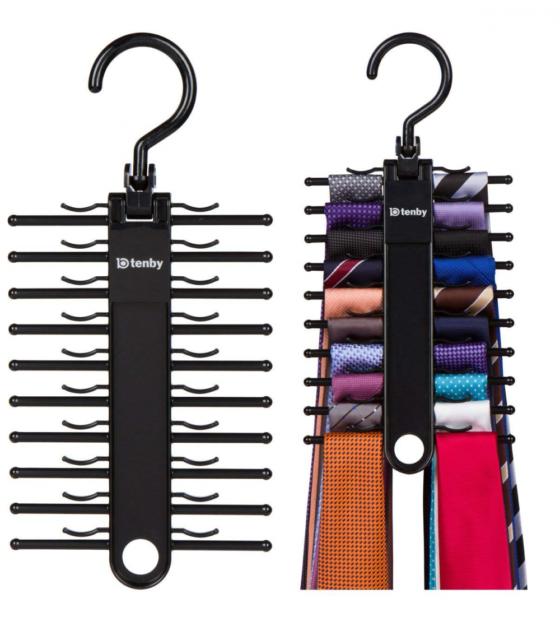 Tenby Living 2-pack Black Tie Rack Organizer Hanger Holder Synchkg099781  for sale online | eBay