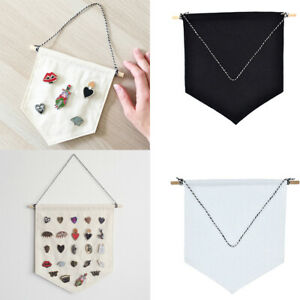 Details about Unisex Pin Badge Display Pennant Banner Plain Blank Canvas  Kids Room Decor New