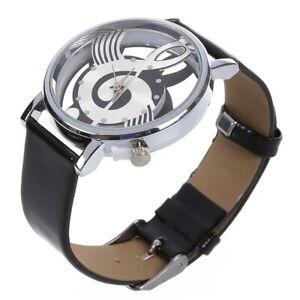 2X-Damen-Herren-Musik-Skelett-Uhr-Kunstleder-Armband-Quarz-Armbanduhr-Schwarz-3I