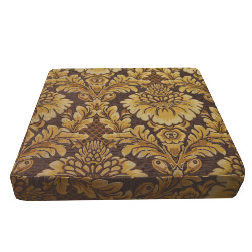we57t Lt Brown Lt Gold on Brown Damask Flower Cotton 3D Box Seat Cushion Cover