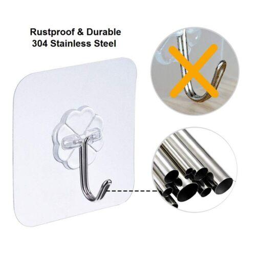 Transparent Reusable Heavy Duty NEW Max 24 PCS Adhesive Wall Hooks Hangers 22lb
