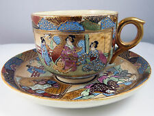 Antique Japanese Meiji Satsuma Pottery Tea Cup and Saucer