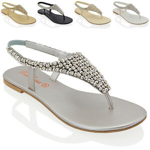 0fbb284370bcd7 Image is loading Ladies-Flat-Toe-Post-Womens-Diamante-Pearl-Holiday-