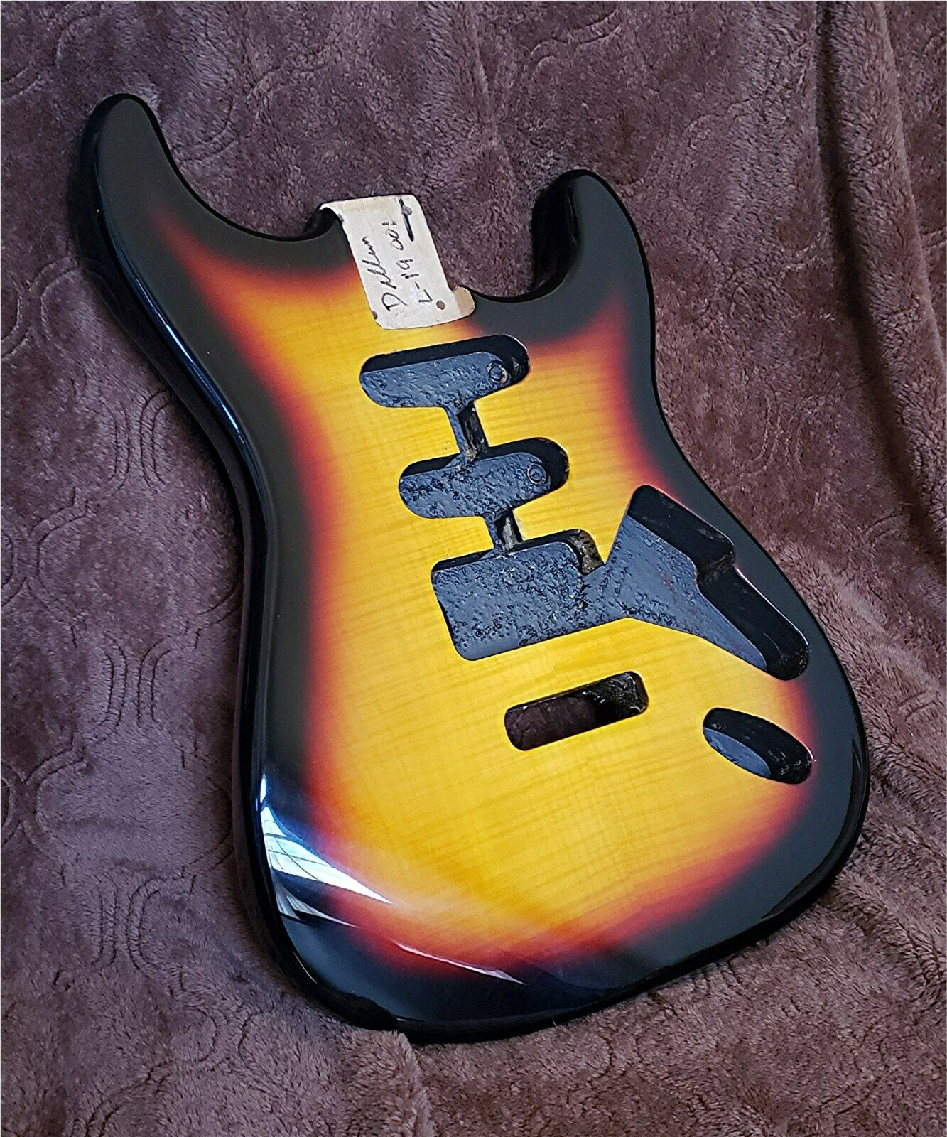 Dillion 2 piece solid Alder Strat body in 3 tone sunburst flame maple