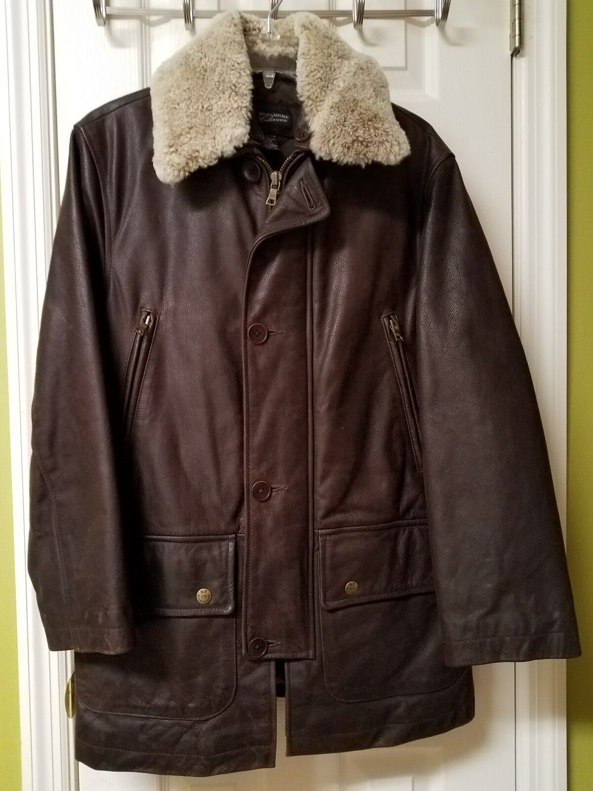 Structure Chocolate braun leder jacke with Fur Coat Neck Größe XS