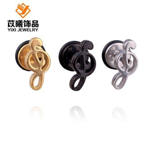 Women Stainless Steel Fashion Music Note Screw Back Stud Earrings Hypoallergenic