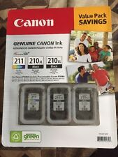 Genuine CANON Value Pack (2) PG-210XL Black and (1) CL-211 Color