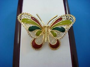 !BEAUTIFUL 18K YELLOW GOLD BUTTERFLY BROOCH WITH ENAMEL ACCENTS, MADE IN ITALY