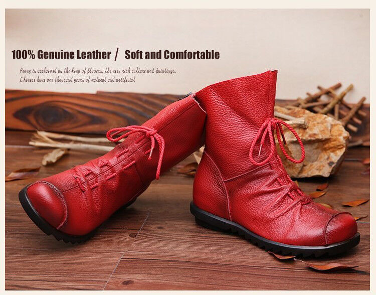 Womens Genuine Cowhide Leather Lace Up Zip Up Flat Ankle Red Boots-Size 6-10