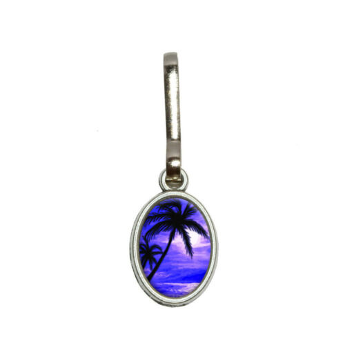 Palm Trees And Sunset Purple Beach Tropical Ocean Oval Charm Zipper Pull