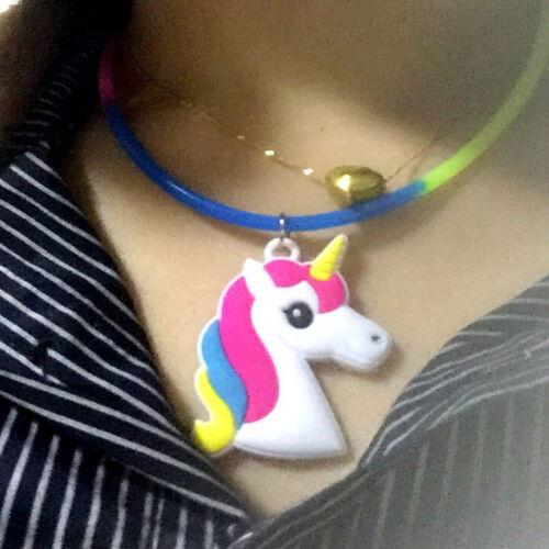 Cute Cartoon Unicorn Pendentif Collier clavicule chaîne Silicone Enfants Fête Cadeaux
