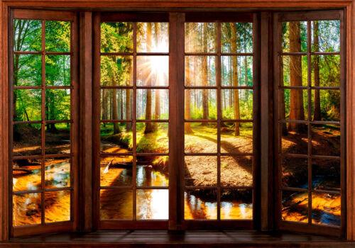Vlies Fototapete Fensterblick Wald Landschaft Tapete Wandbilder xxl c-C-0282-a-a