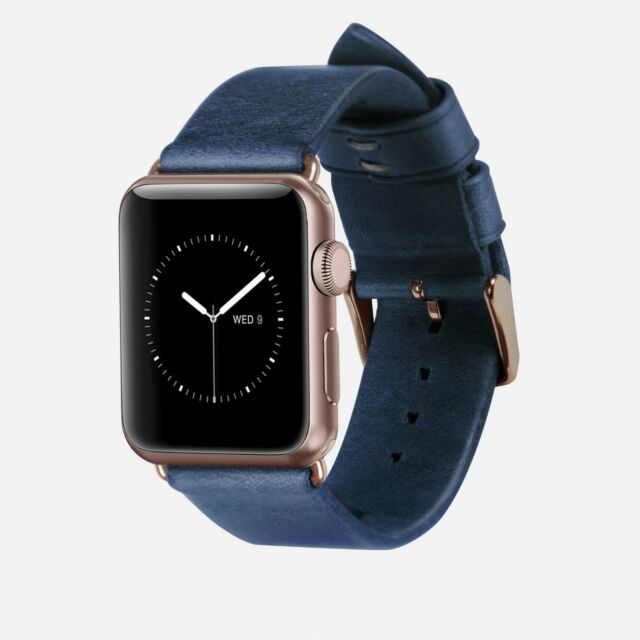 Nomad Genuine Leather Strap Band For Apple Watch 38mm Navy Rose Gold