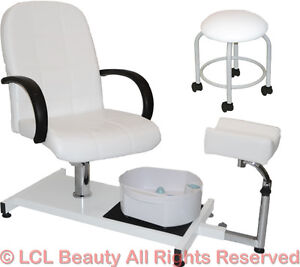 White Pedicure Station Hydraulic Chair Massage Foot Spa Beauty