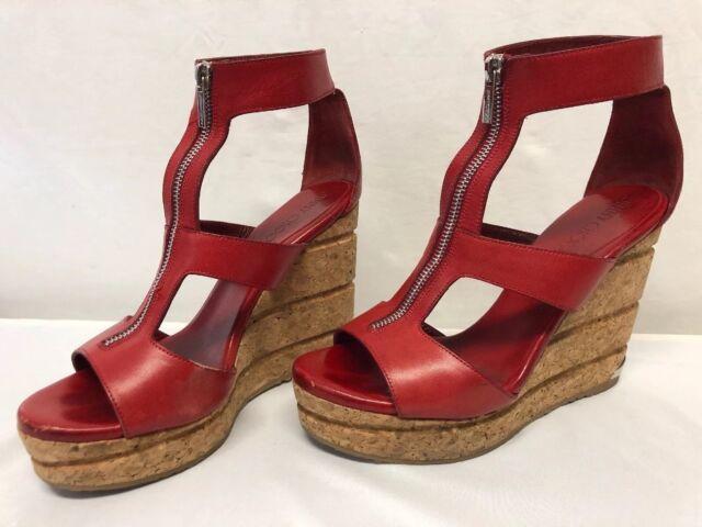 Choo 39 Sandal Novice Wedge Red Zipper Sz Women's Heel Platform Leather Jimmy dsQChrt