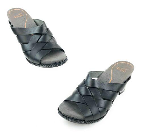 Dansko TORY Sandal Size 39 Black Woven Leather Wed