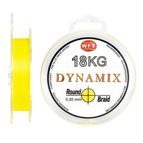 0,07EUR//m WFT Geflochtene Angelschnur KG Dynamix Round Yellow 300m 0,10