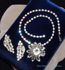 Vintage Kramer Clear Rhinestone Flower Necklace & Clip Earrings Set Estate
