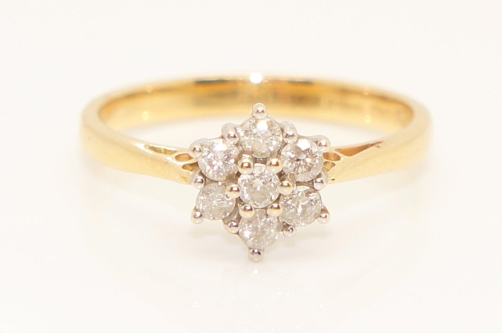 Splendido 18Ct oro 0.34 CTW Diamante Daisy Cluster Anello Dimensione Dimensione Dimensione N 1 2 5cb484